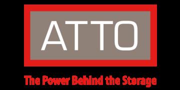 Alstor SDS logo ATTO biały napis na szarym tle z napisem The Power Behind the Storage