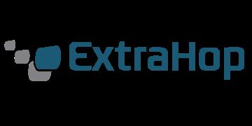 Alstor SDS logotyp Extrahop w kolorze morskim z szaro-niebieskim elementem graficznym (trzy kwadraty szare, jeden w kolorze morskim)
