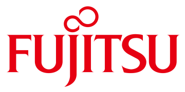Alstor SDS red FUJITSU logo, above letters J and I dots form an infinity shape