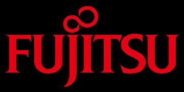 Alstor SDS czerwone logo FUJITSU, nad literami J oraz I kropki układają się w kształt nieskończoności