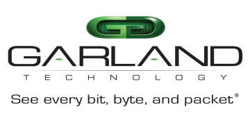 Alstor SDS logo of GARLAND TECHNOLOGY company with a green graphic element (two letters G glued together by mirror image). The logo contains the inscription See every bit, byte, and packet