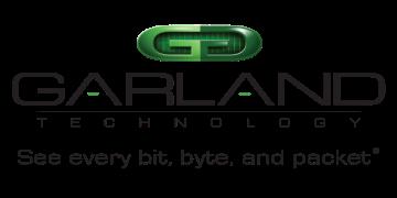 Alstor SDS logo firmy GARLAND TECHNOLOGY z zielonym elementem graficznym (dwie sklejone litery G poprzez odbicie lustrzane). Logo zawiera napis See every bit, byte, and packet