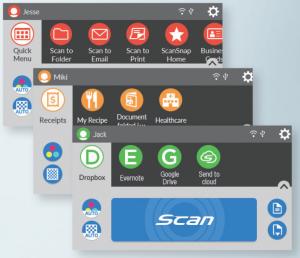 Grupowanie przycisków w skanerze Fujitsu ScanSnap iX1600
