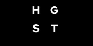 Alstor SDS logo firmy HGST, Białe litery nazwy firmy ułożone w kwadrat, litery H i T są w kwadratach a G, S w okręgach. Poniżej napis w kolorze czarnym