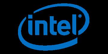 Alstor SDS logotyp firmy Intel, niebieski napis wpisano w niebieskim owalu