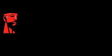 Alstor SDS logo firmy Kingston z czerwonym znakiem graficznym symbolizującym popiersie. Na dole czarny napis: Committed to memory