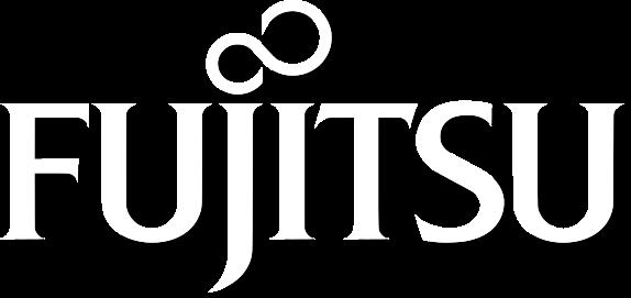 Logo Fujitsu w białym kolorze
