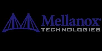 Alstor SDS logo Mellanox Technologies, niebieski napis z nazwą Mellanox, napis Technologies w kolorze szarym. Logo zawiera element niebieski graficzny - symbol mostu z dwoma przęsłami