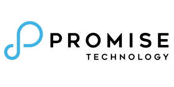 Alstor SDS logo with PROMISE TECHNOLOGY company name in black, on the left side there is a blue graphic element resembling the infinity symbol