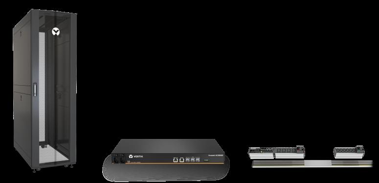 Rozwiązania Vertiv - szafa VR, konsola serwerowa ACS, listwa PDU MPX