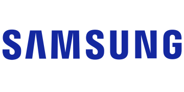 Alstor SDS samsung logo. Clear SAMSUNG name in capital letters written in blue ellipse