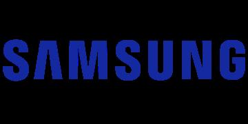 Alstor SDS logo firmy samsung. Bezbarwna nazwa SAMSUNG pisana wielkimi literami wpisana w elipsę w kolorze niebieskim