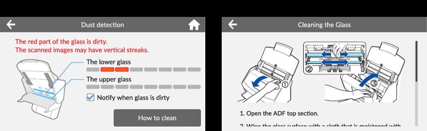 Fujitsu ScanSnap_ix1500_Wyświetlanie instrukcji w przypadku wykrycia zanieczyszczeń