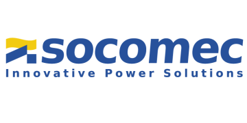 Alstor SDS blue socomec logo with the words Innovative Power Solutions. The graphic element resembles a flag in blue and yellow