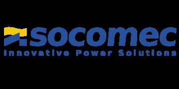 Alstor SDS niebieski logo firmy socomec z napisem Innovative Power Solutions. Element graficzny przypomina flagę w kolorze żółto niebieskim