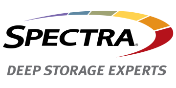 Alstor SDS logo black SPECTRA lettering with grey Deep Storage Experts lettering. The graphic element is a divided ellipse in the colours purple, blue, green, yellow, orange and red