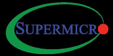 Alstor SDS logo Supermicro, niebieski napis firmy, litera O to czerwony okrąg. Napis wpisany w zieloną elipsę.