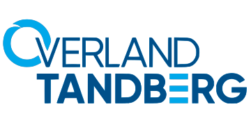 Alstor SDS company logo Overland Tandberg in blue. The letter O is a blue circle and the letter E is three blue dashes