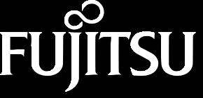 biale logo Fujitsu z cienowianiem
