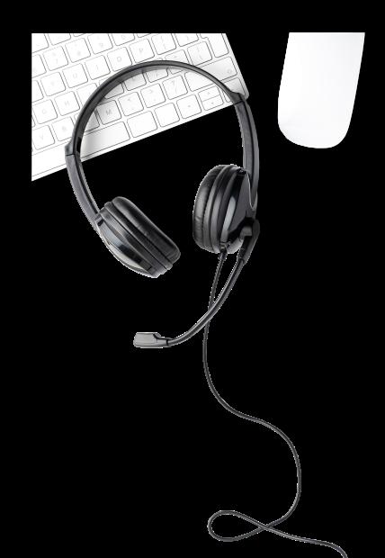 słuchawki, klawiatura i mysz